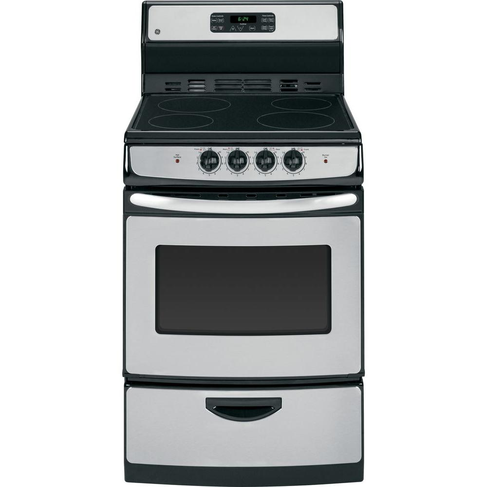 stove 24 inch. ge 24 in. 3.0 cu. ft. electric range with self-cleaning oven in stainless steel-ja624rnss - the home depot stove inch