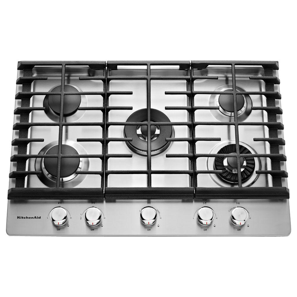 Kitchenaid 30 In Gas Cooktop Stainless Steel With 5 Burners Including Professional Dual Tier