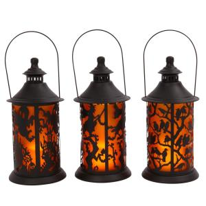 14.17 in H Assorted Halloween Metal Themed Lanterns with LED Candle (Set of 3)