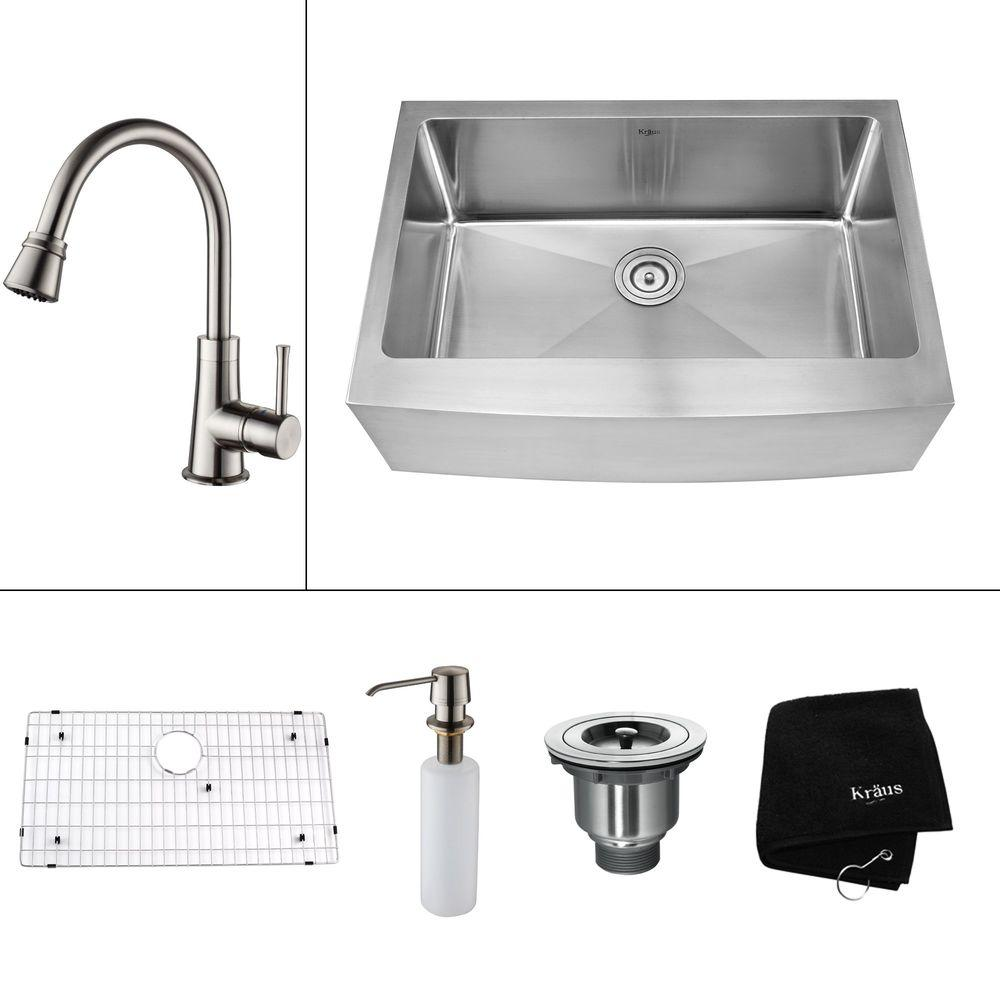 KRAUS All-in-One Farmhouse Apron Front Stainless Steel 29.75 in. 0-Hole Single Bowl Kitchen Sink with Satin Nickel Accessories