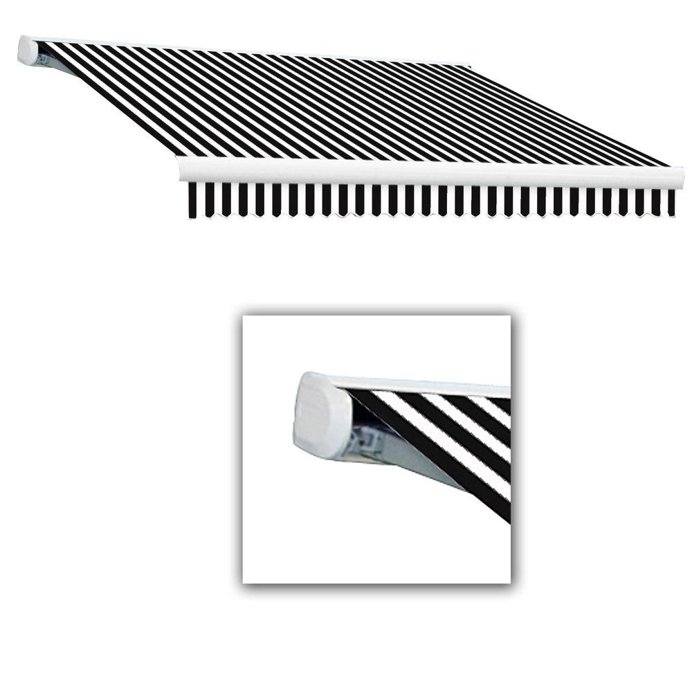 null 14 ft. Key West Right Motorized Retractable Acrylic Fabric Awning (120 in. Projection) in Black/White Stripe