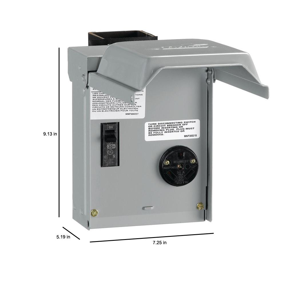 Midwest Electric Products 30 Amp Temporary Rv Power Outlet With Breaker U013cp The Home Depot