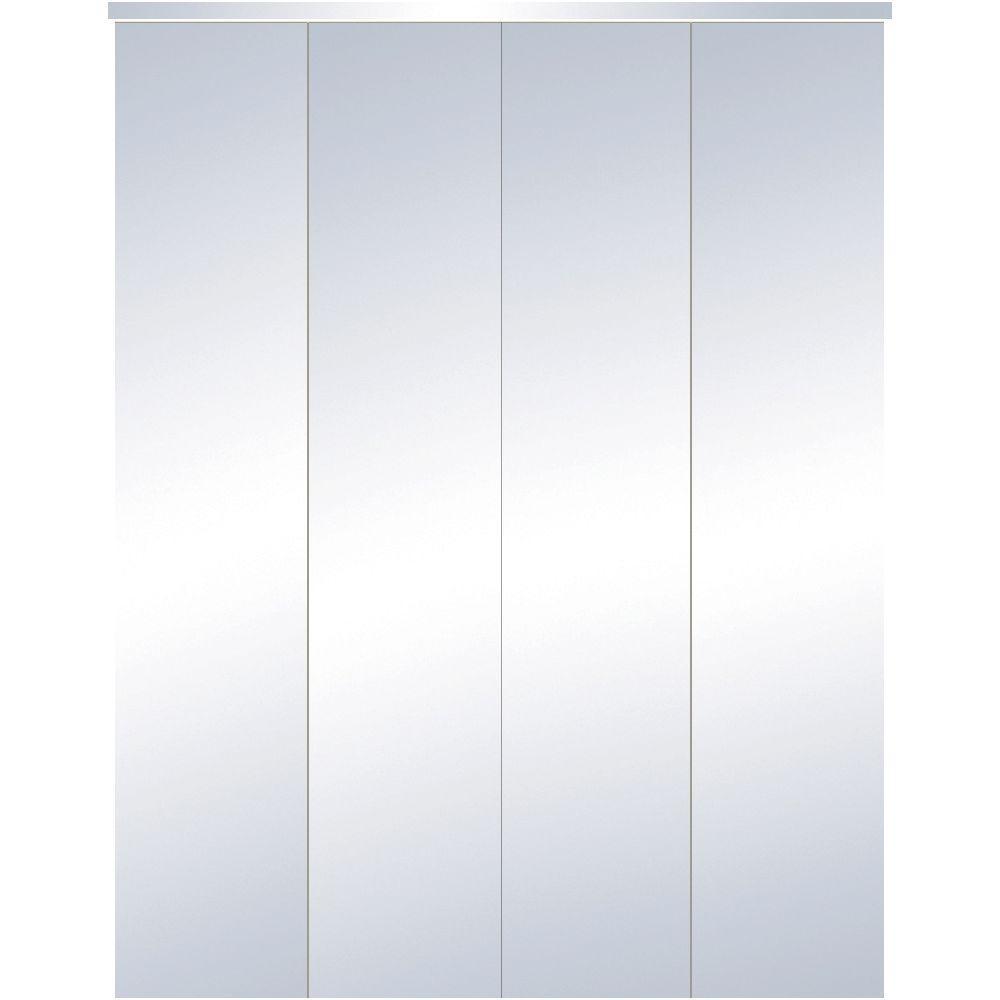 TRUporte 24 in. x 80 in. 321 Series Steel White Mirror Interior Closet Bi-fold Door