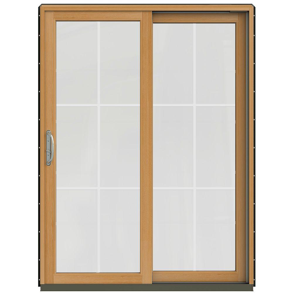 w 2500 contemporary bronze clad wood left hand 6 lite sliding patio door wstained interior thdjw220101466 the home depot - 6 Sliding Patio Door