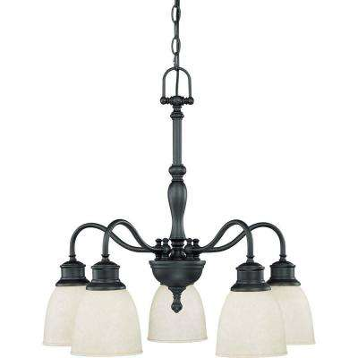 5-Light Aged Bronze Arms Down Chandelier with Biscotti Glass Shade