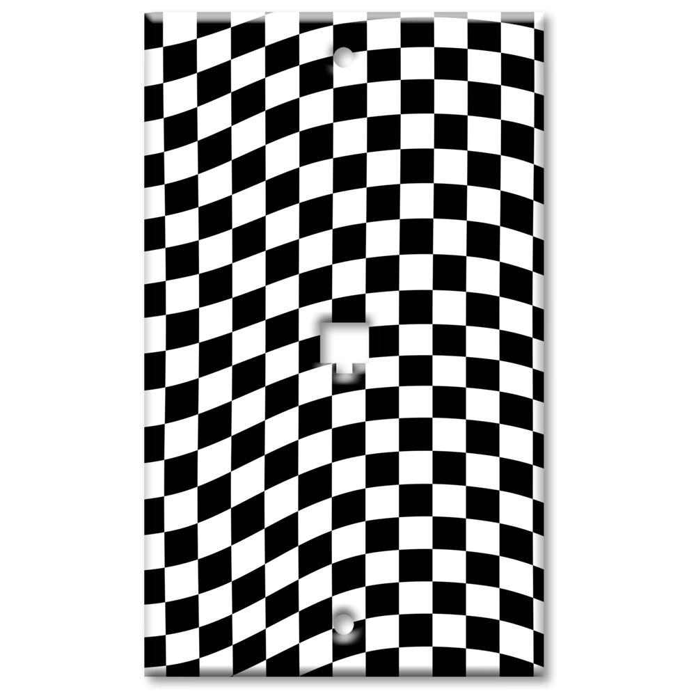 Art Plates Checkered Racing Flag Cat5 Wall Plate