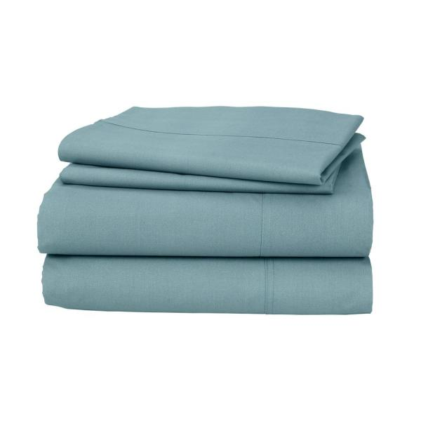 Cstudio Home by The Company Store 3-Piece Blue Haze 200 Thread Count Percale Twin XL Sheet Set