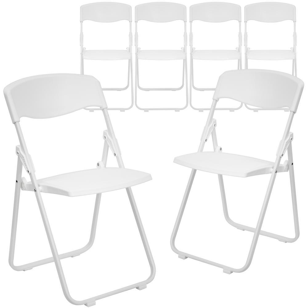 White Metal Folding Chair (Set of 6)
