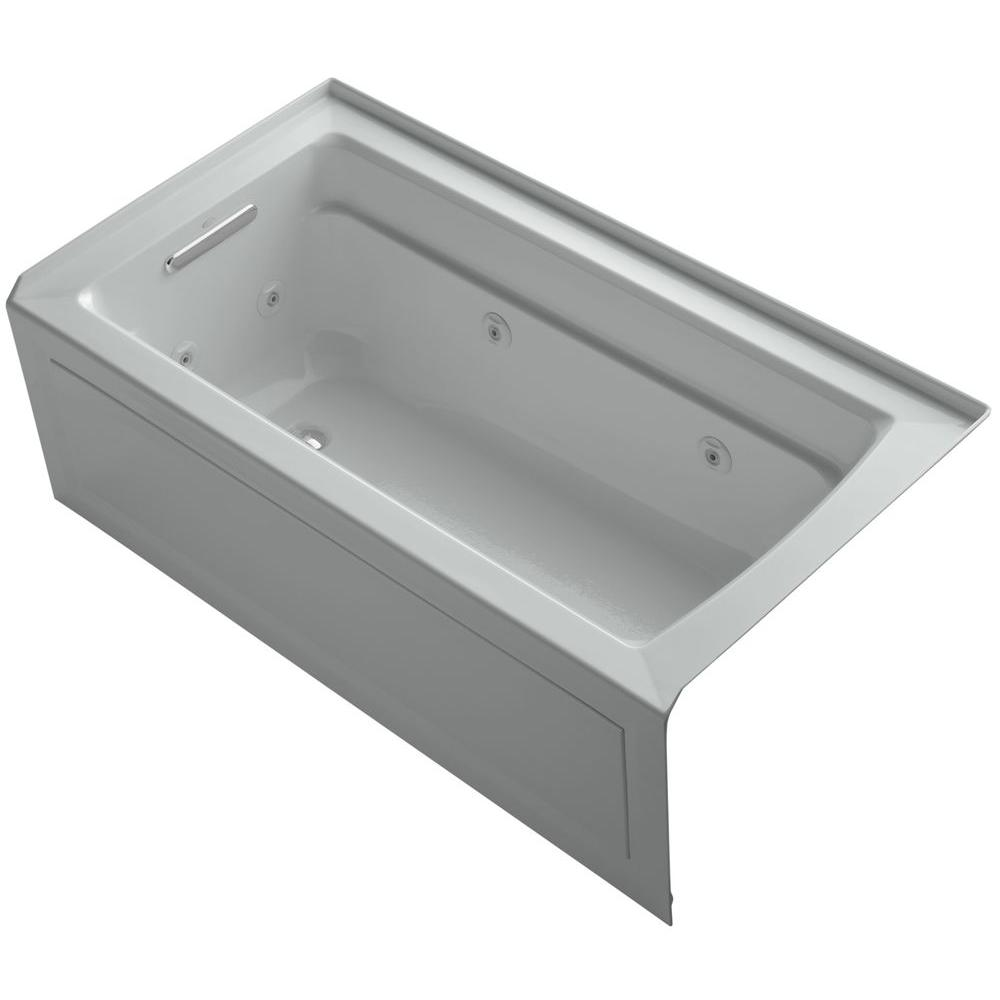 KOHLER Archer 5 ft. Left-Drain Rectangular Alcove Whirlpool Bathtub in Ice Grey
