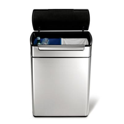 48-Liter Fingerprint-Proof Brushed Stainless Steel Touch-Bar Recycling Trash Can