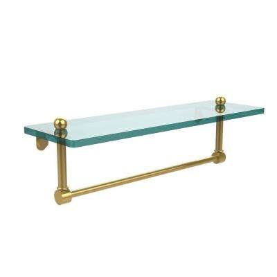 16 in. L  x 5 in. H  x 5 in. W Clear Glass Vanity Bathroom Shelf  with Integrated Towel Bar in Polished Brass