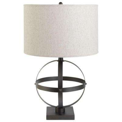 20 in. Sphere Table Lamp with Bronze Beige Linen Shade