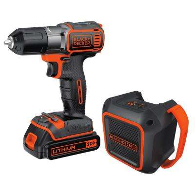 20-Volt MAX Lithium-Ion Cordless Drill/Driver and Bluetooth Speaker Combo Kit (2-Piece) with Battery 1.5Ah and Charger