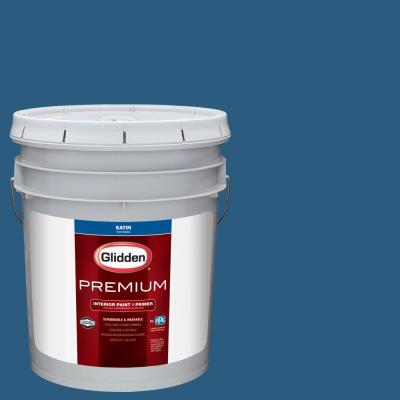 Glidden Premium 5 gal. #NHL-008E Colorado Avalanche Blue Satin Interior Paint with Primer