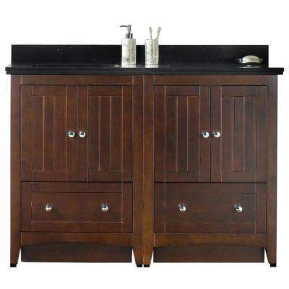 16-Gauge-Sinks 47.5 in. W x 18.25 in. D Bath Vanity in Walnut with Stone Vanity Top in Black Galaxy with Biscuit Basin