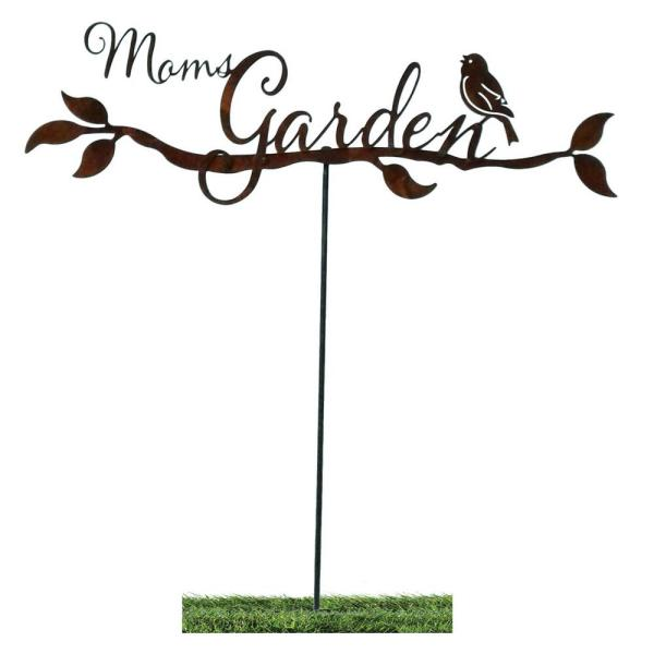 30 in. Tall Metal Mom's Garden Sign with Stake, Rustic Look Artwork