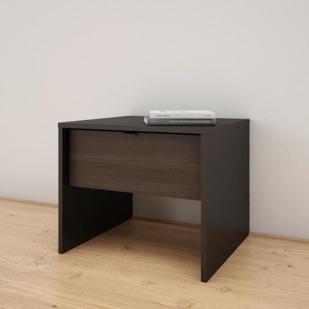 Opaci-T 1-Drawer Black and Ebony Nightstand