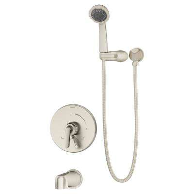 Elm 2-Handle Wall Mounted Tub and Shower Trim Kit in Satin Nickel with Hand Shower (Valve Not Included)