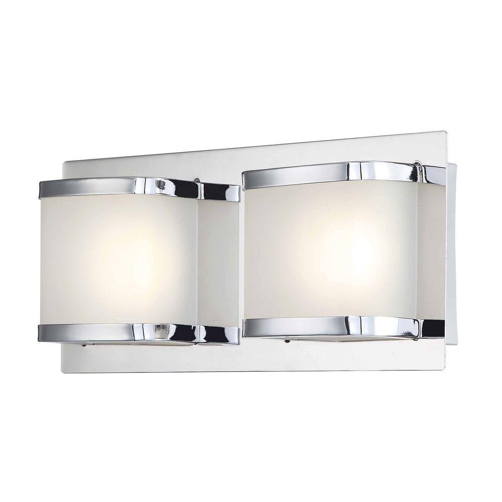 Bandeaux 2-Light Chrome and Opal Glass LED Vanity Light