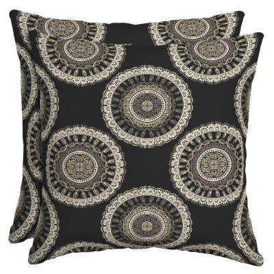 Black Geo Square Outdoor Throw Pillow (2-Pack)