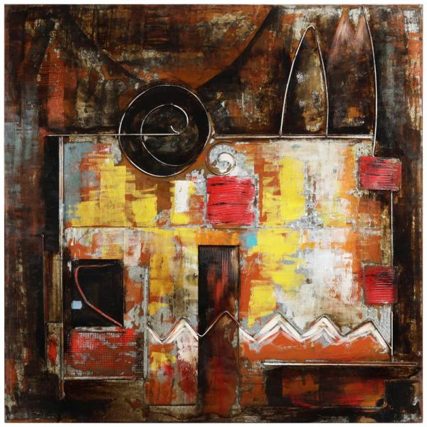 48 in. x 48 in. ''Abstraction 1'' Mixed Media Iron Hand Painted Dimensional Wall Art