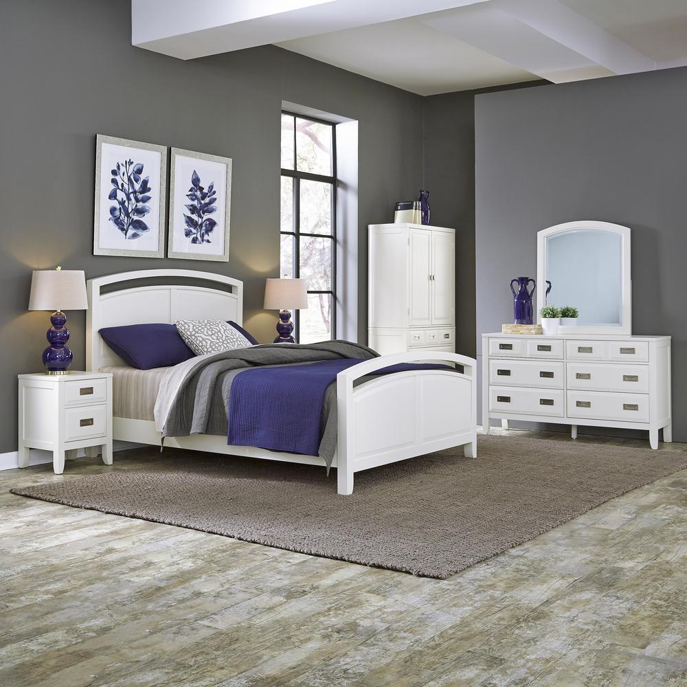 Newport 6-Drawer White Dresser with Mirror