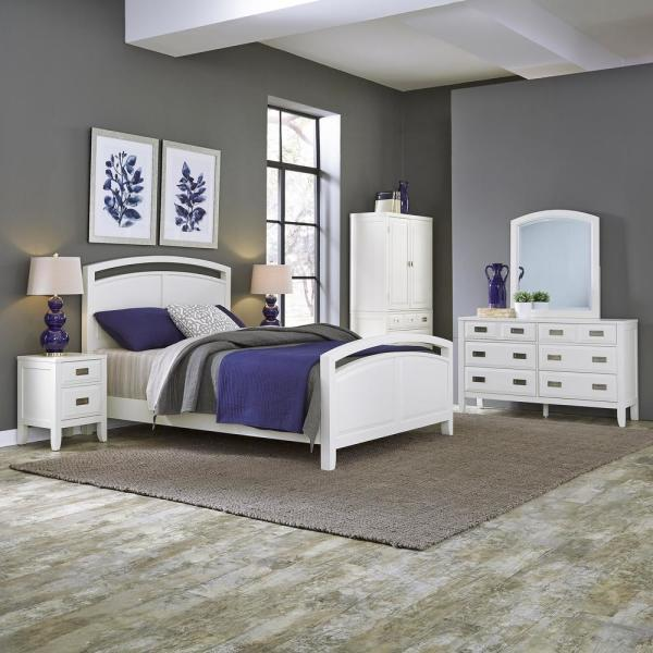 Home Styles Newport 6-Drawer White Dresser with Mirror 5515-74