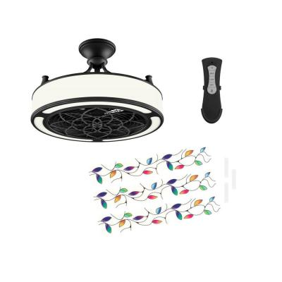 Anderson 22in. LED Indoor/Outdoor Black Ceiling Fan with Remote Control and Vine Insert Panel