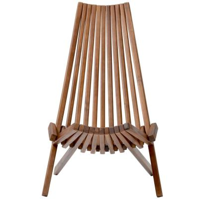 Outdoor Rustic Folding Low Profile Ergonomic High Slanted Back Acacia Wood Chair Relaxing Reading