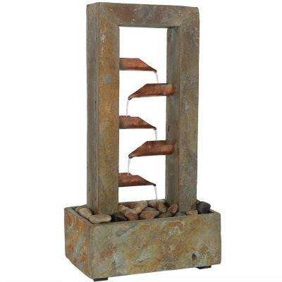 19 in. 5-Tier Copper and Slate Flowing Gardens Tabletop Tiered Fountain