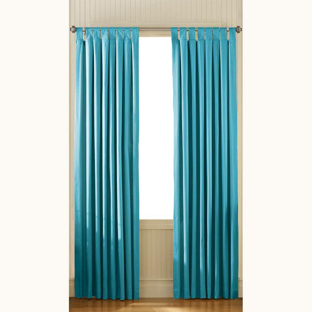 Curtainworks Semi-Opaque Teal Cotton Canvas Tab Top Panel - 54 in. W x 84 in. L