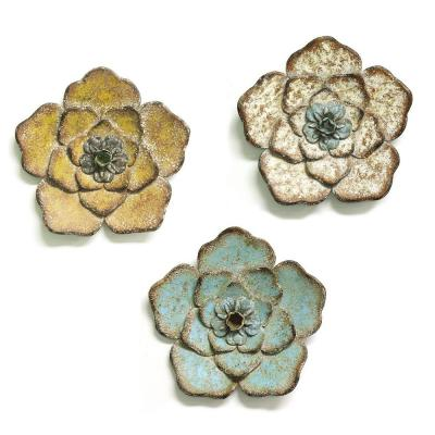 Multi-Color Chic Metal Flower Wall Decor