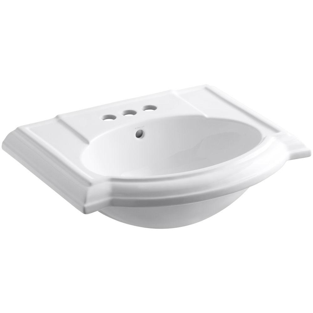 Devonshire Vitreous China Pedestal Bathroom Sink Basin in White with Overflow