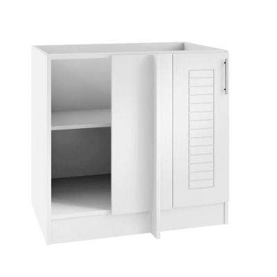 Assembled 39x34.5x24 in. Key West Island Blind Corner Outdoor Kitchen Base Cabinet with Full Doors Left in Radiant White