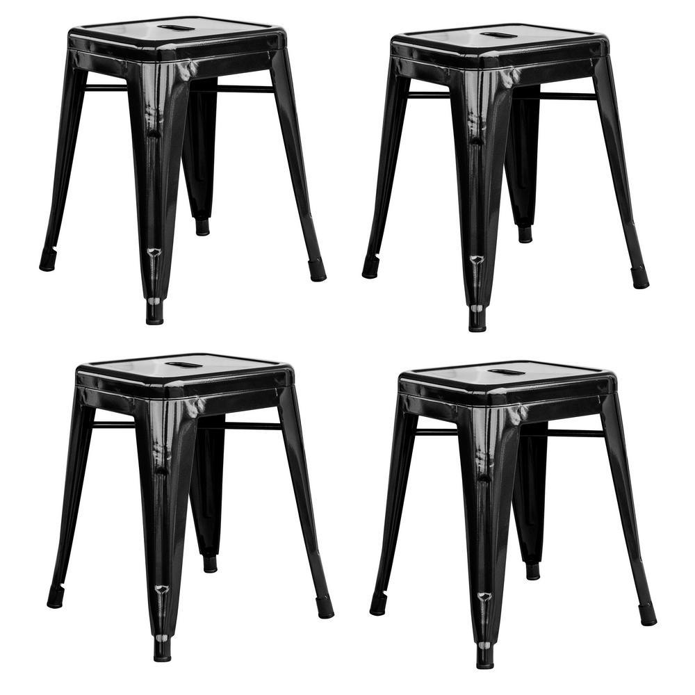 Loft Style 18 in. Stackable Metal Bar Stool in Black (Set of 4)