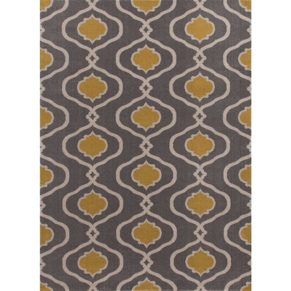 World Rug Gallery Moroccan Trellis Modern Gray/Yellow 5 Ft