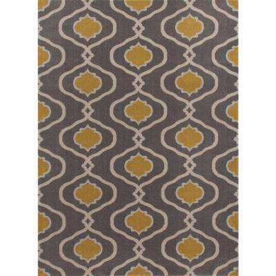 Moroccan Trellis Modern Gray/Yellow 7 ft. 10 in. x 10 ft. 2 in. Area Rug