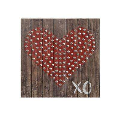 10 in. H x 10 in. W Heart and XO Wood Wall Art
