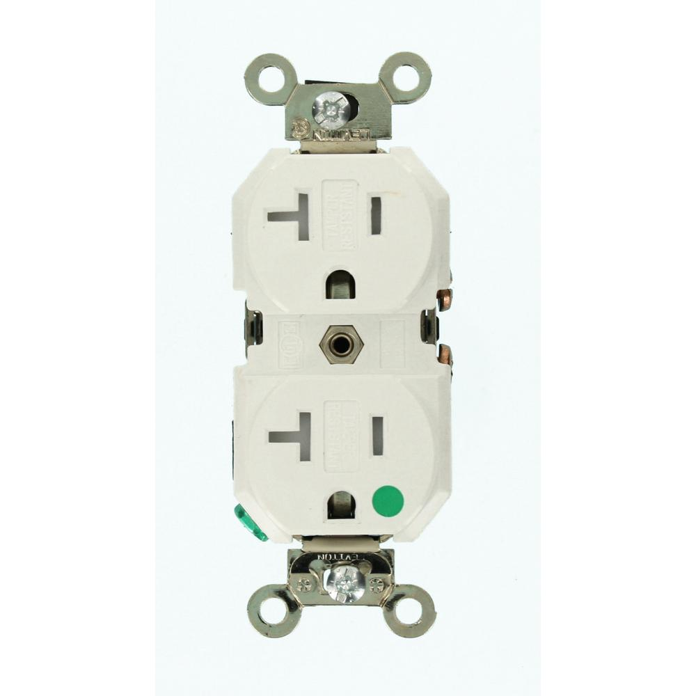 Leviton 20 Amp Hospital Grade Extra Heavy Duty Tamper Resistant Self Grounding Duplex Outlet White