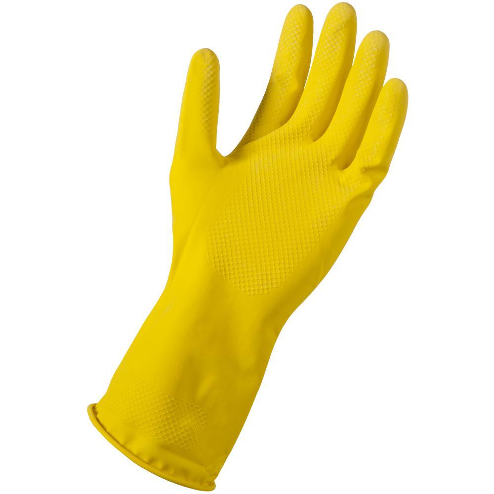 Small/Medium Yellow Latex Reusable Gloves (24-Pair)
