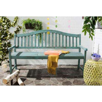 Mischa Outdoor Steel Patio Bench in Beach House Blue