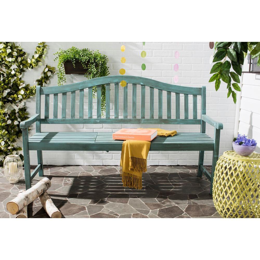 Mischa Outdoor Steel Patio Bench In Beach House Blue