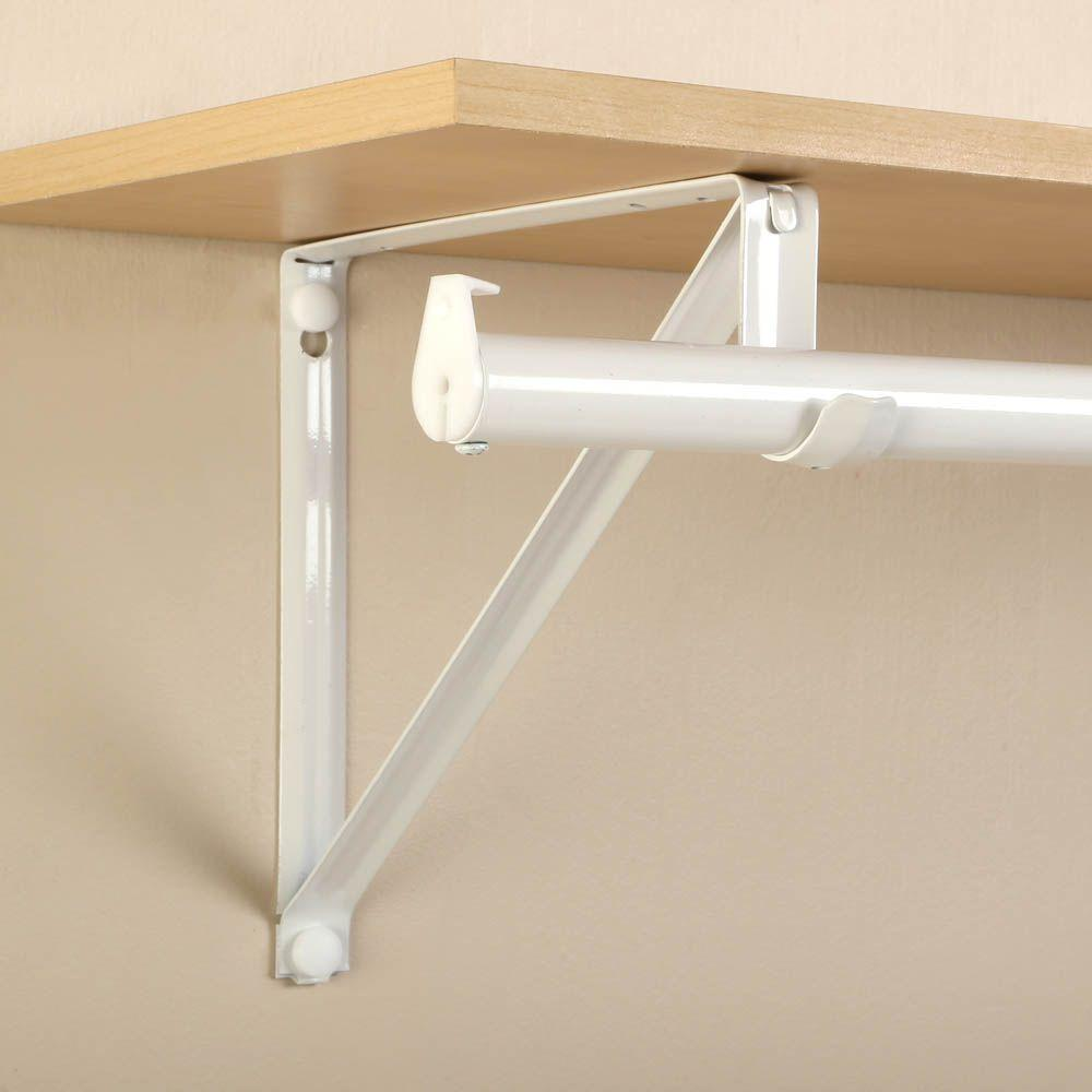White Steel Heavy Duty Rod Shelf Bracket