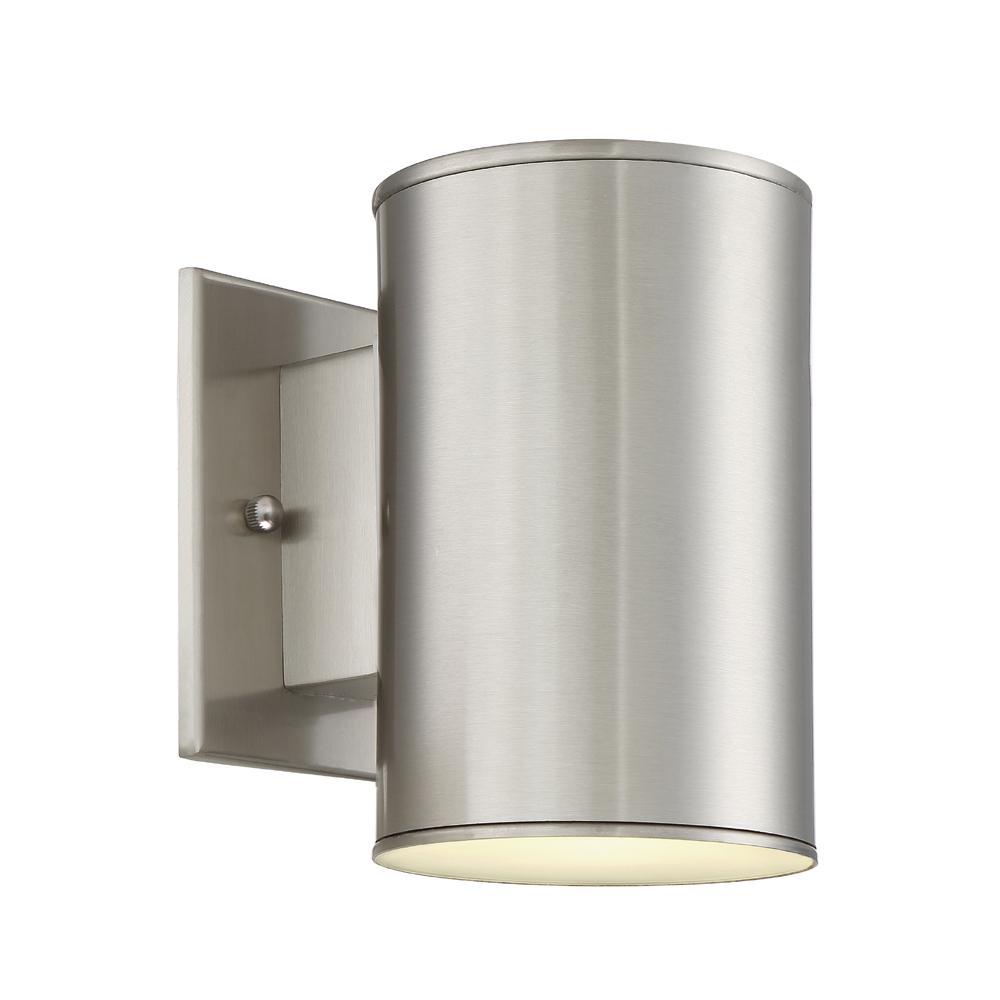 Barrow 11-Watt Satin Platinum Outdoor Integrated LED Wall Mount Lantern
