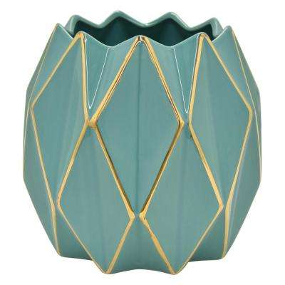8.25 in. Porcelain Vase-Turquoise and Gold