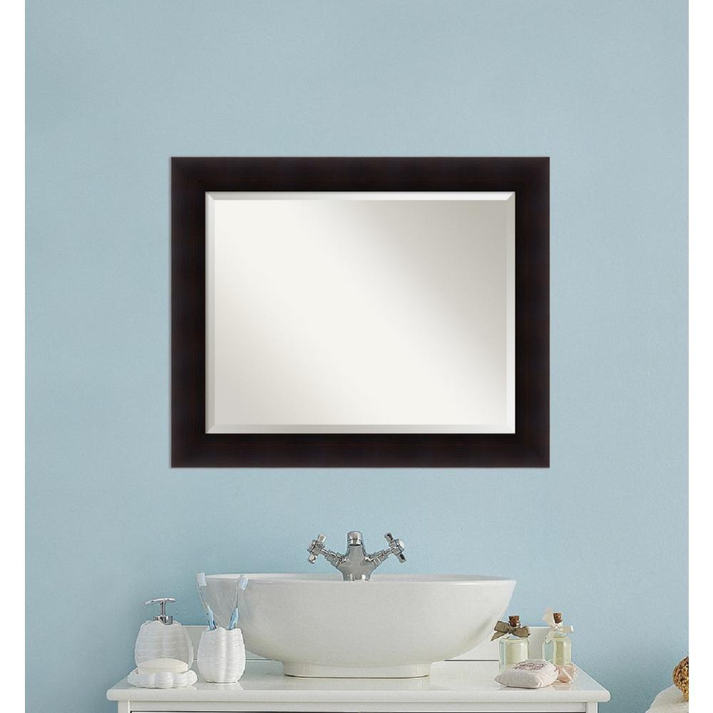 Amanti art portico espresso wood 34 in w x 28 in h for Large flat bathroom mirrors