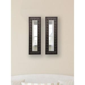 10.5 inch x 36.5 inch Feathered Accent Vanity Mirror (Set of 2-Panels) by