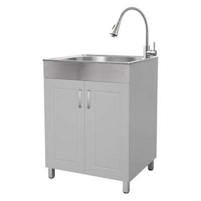 All-in-One 24.2 in. x 21.3 in. x 33.8 in. Stainless Steel Laundry Sink and Matt Grey 2 Door Cabinet
