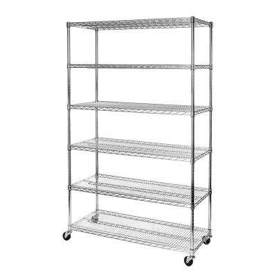 18 in. D x 48 in. W x 72 in. H 6-Tier Ultra Zinc NSF Steel Wire Storage Shelving with Wheels