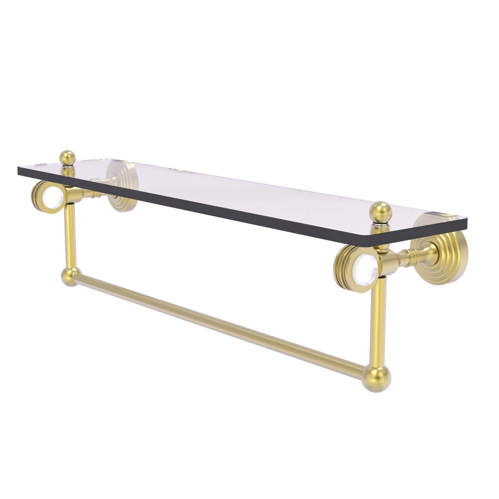 Allied Brass Pacific Grove Collection 22 Inch Glass Shelf with Towel Bar and Dotted Accents in Satin Brass